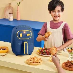 美的空气炸锅KZ30206L 家用多功能 智能电炸锅 全自动 无油炸薯条机 蓝色款 捣蛋鬼系列
