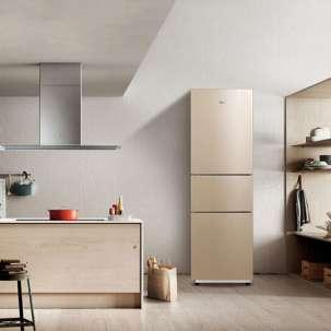 美的冰箱217升容量家用三门 风冷无霜 双系统制冷 BCD-217WTM 三门 爵士棕