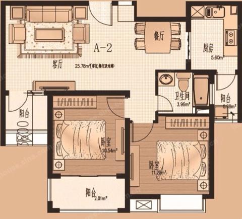 使用面积70平两房小户型简装修。