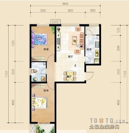 问答 家装设计 装修风格 > 求60平米小户型装修方案 间隔出两室一厅图片