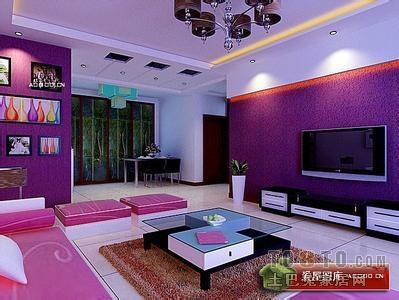 紫色的电视背景墙搭配什么颜色电视柜和家具比较好呢
