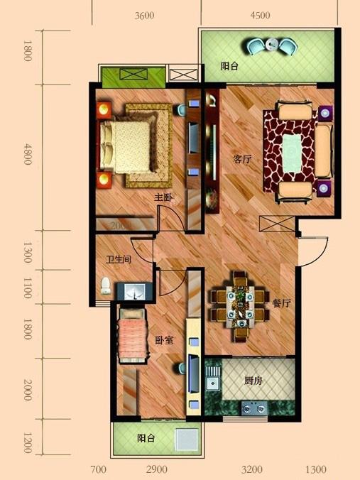 长条形房间平面设计图展示图片