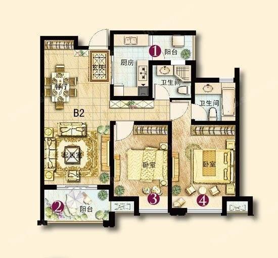 求建筑面积100平此户型的装修图?喜欢现代简约风格,年轻小夫妻住。