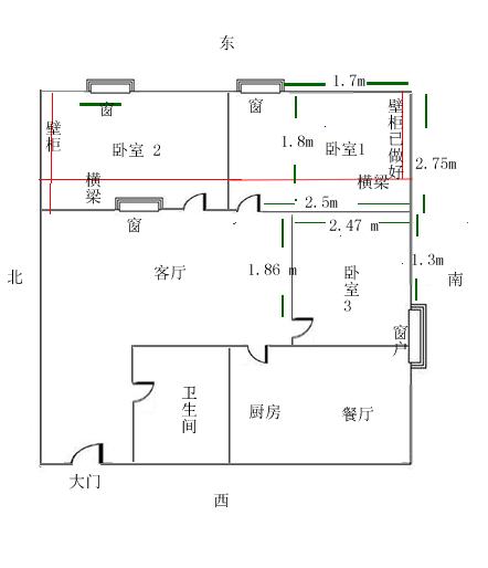 卧室有横梁,床怎么放好呢,这个是我家的平面图,麻烦各位给卧室1和卧室3出出主意