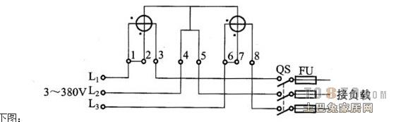 带外接互感式三相四线电表接线端孔:1,4,7依次为|A|B|C|相电流进线.2,5,8依次为|A|B|C|相电压接线端,也同时可为电压的分别输出端,每相要对应起来,否则电表走得快或影响其它问题等.3,6,9为电流依次输出端.10端为零线进,出端. 而三相三线电表则是B相电流取消,只接第5孔(在此作为零线端).