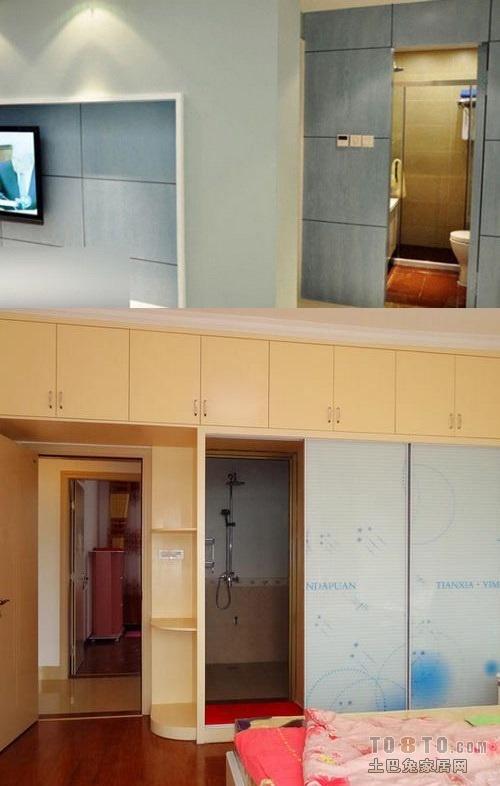 卫生间在客厅可用线条背景进行隐藏,在主卧则可用衣柜推拉门隐藏.图片