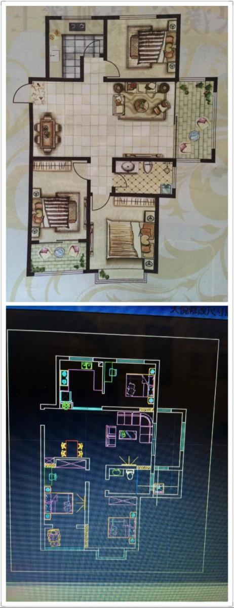 这是我房子的户型图,面积118左右,想要简约风格,觉得厨房和小卧室门口好别扭,想让厨房大一点,请大家帮忙给点改动意见…后面是我自己设计的,还想要个衣帽间…