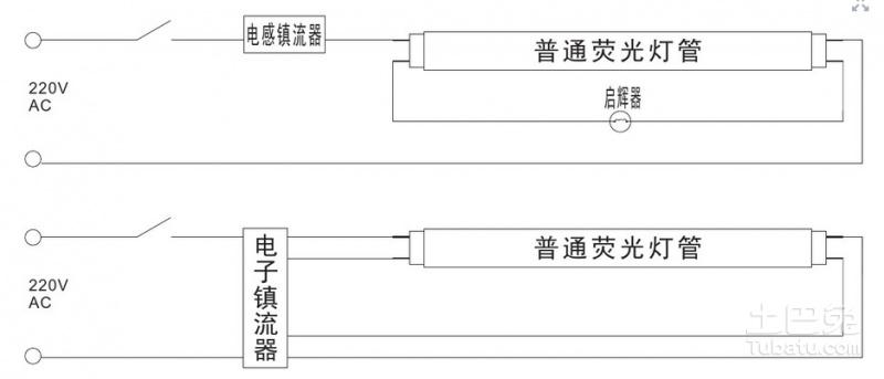 led日光灯管接线图哪位有