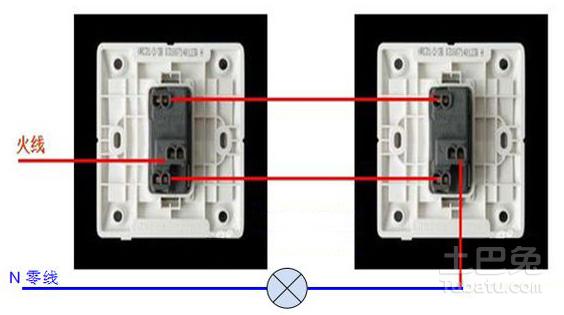 单开双控开关怎么接线 求接线图图片