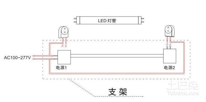 如图。LED灯管也俗称光管、日光灯管,其光源采用LED作为发光体。传统的日光灯管又称荧光灯,灯两端各有一灯丝,灯管内充有微量的氩和稀薄的汞蒸气,灯管内壁上涂有荧光粉,两个灯丝之间的气体导电时发出紫外线,使荧光粉发出可见光。led灯管有很多优点,一般用于普通照明,写字楼,商场,酒楼,学校,家庭,工厂等室内照明。