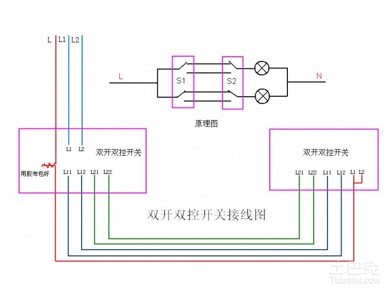 给你个最全的原理图。这是3地控制某灯的图,也可以用n个多控开关,实现n地控制某灯。 你的问题相对此要简单多了,因为你这只是2地分别控制各自的灯。就是去掉中间的双刀双掷多控开关,只剩下左、右两组开关。而上下开关合并。图上是单联的双控开关,合并后的实物就是双联(两组,两位)双控开关,你用的实物就是将两套(两联)组合在一起的双联双控开关,其实是各控制各的灯,无非是组装在同一个开关盒子里了,变成了双联双控开关。