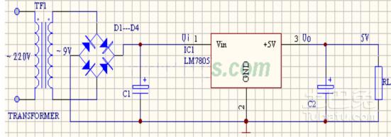 7805稳压电源电路图怎么画?