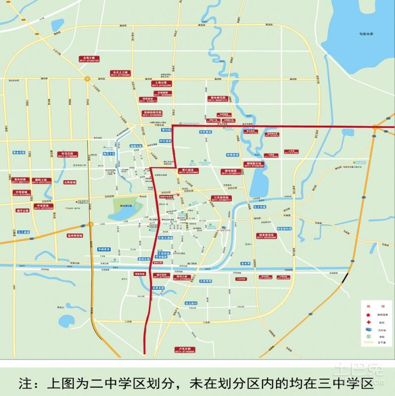 2015江苏句容学区房划分情况,有两张图表可以显示,第一张小学学区划分