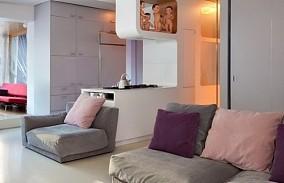 时尚二居室温馨客厅隔断装修效果图大全2014图片