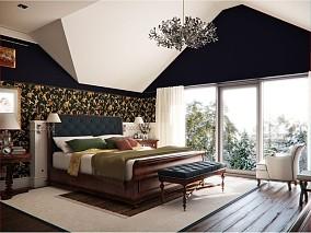 欧式华丽的复式楼卧室飘窗装修效果图大全