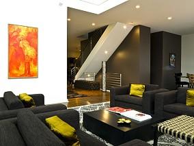 现代动感的复式楼客厅装修效果图大全2014图片
