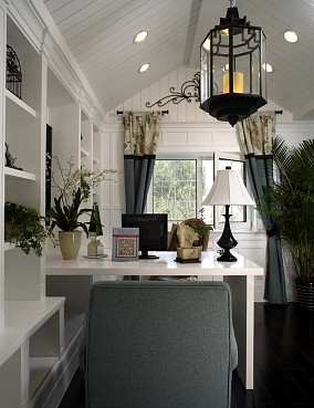 欧式别墅开放式最热门书房集成吊顶窗户窗帘电脑桌书柜装修效果图片