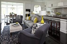 北欧清新的三室两厅客厅装修效果图大全2014图片