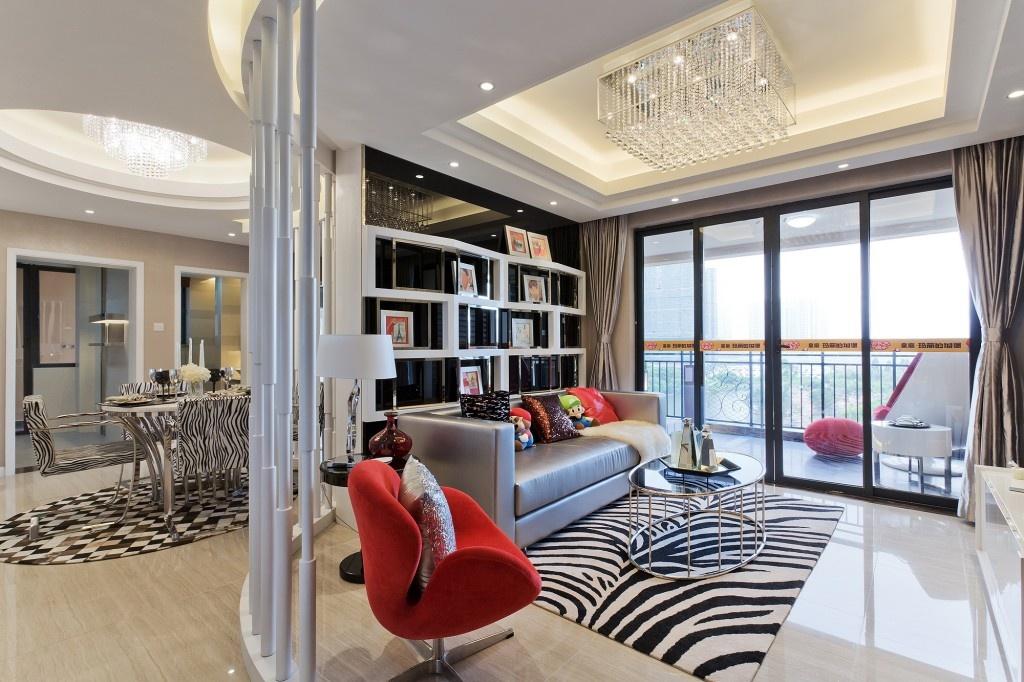 120平米混搭风格家庭客厅隔断柜子装修效果图功能区其他功能区设计图片赏析