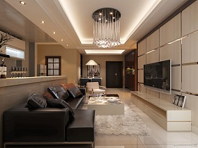 热门面积86平小户型客厅混搭装修设计效果图