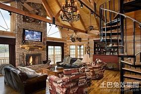 奢华的复式楼客厅装修效果图大全2014图片