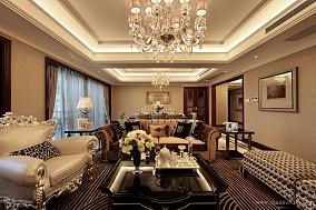 现代简欧香槟色客厅餐厅装修效果图样板间潮流混搭家装装修案例效果图