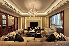 经典简欧香槟色客厅装修效果图样板间潮流混搭家装装修案例效果图
