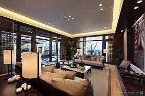 中式客厅落地窗装修效果图