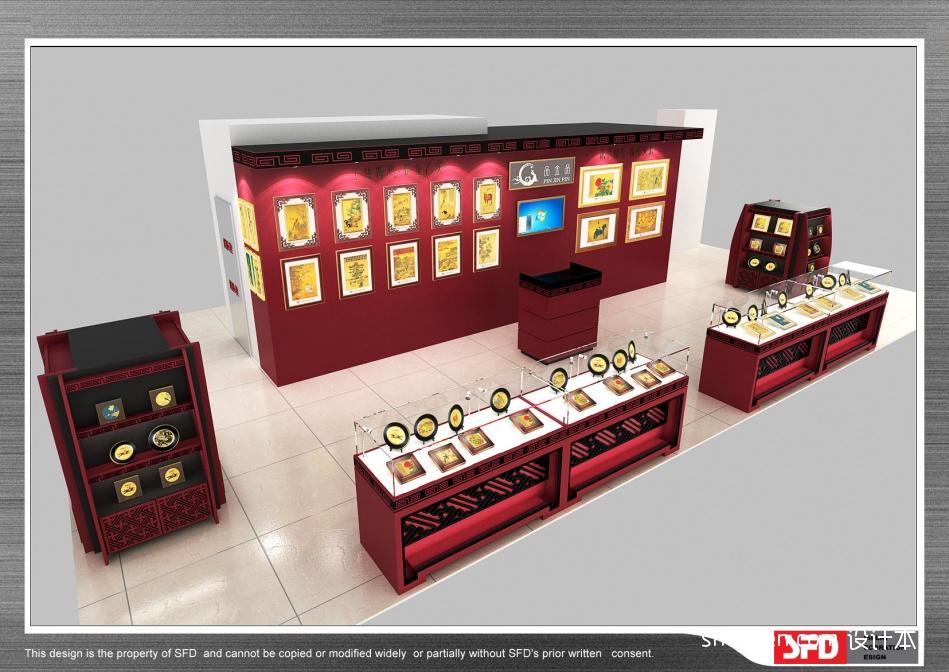 台湾品金品黄金画店面设计商业展示设计图片赏析