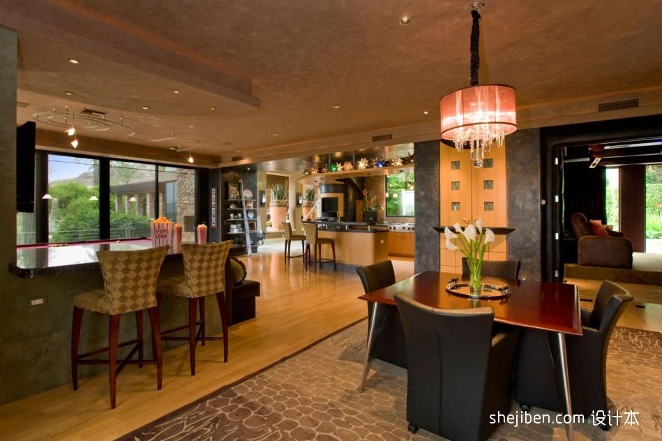 精选面积124平别墅餐厅混搭装修图厨房潮流混搭餐厅设计图片赏析