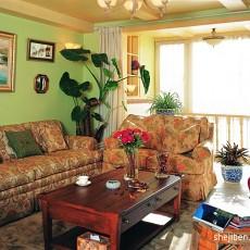 美式田园风格沙发背景墙装修效果图