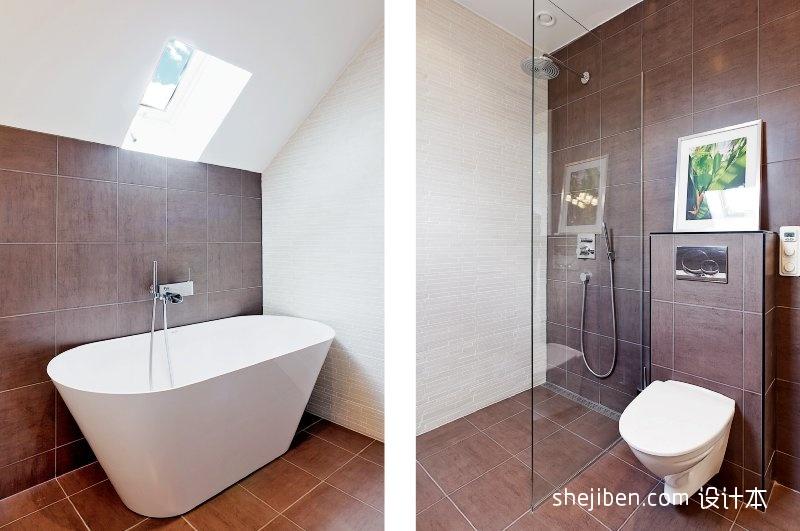 混搭风格二居室时尚阁楼主卫生间玻璃隔断浴室浴缸装修效果图片功能区潮流混搭功能区设计图片赏析
