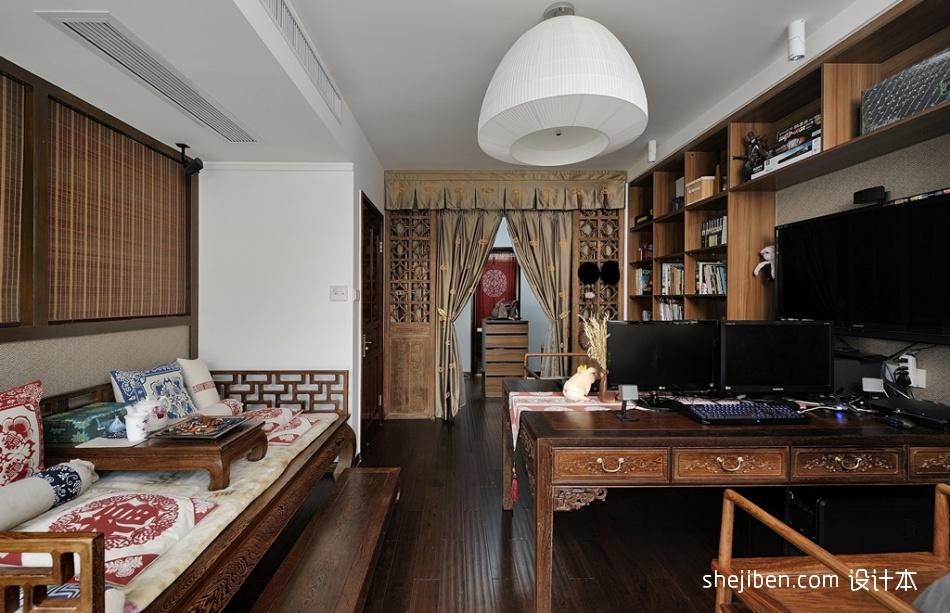 热门90平米中式小户型书房装饰图片功能区中式现代功能区设计图片赏析