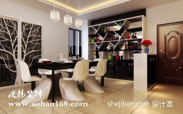 优雅108平混搭三居餐厅布置图厨房潮流混搭餐厅设计图片赏析