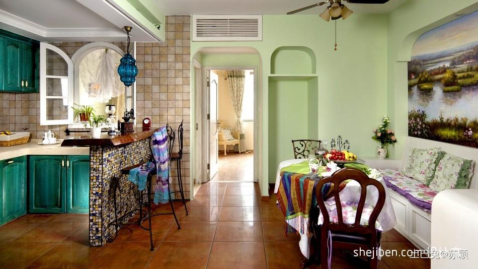 地中海风格开放式L型4平米小面积家居厨房蓝色橱柜装修效果图片潮流混搭设计图片赏析