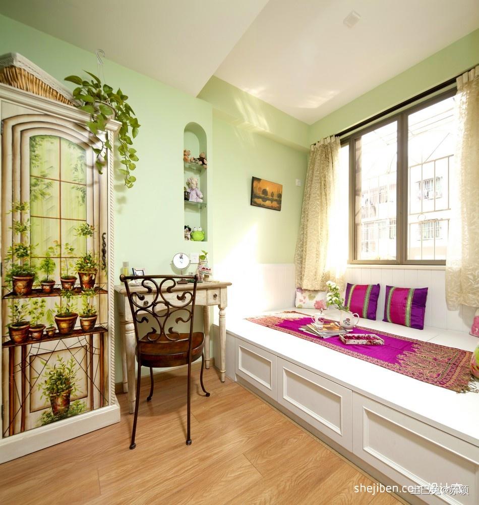 2017混搭风格三室一厅绿色系女孩儿童房榻榻米床装修效果图片潮流混搭设计图片赏析