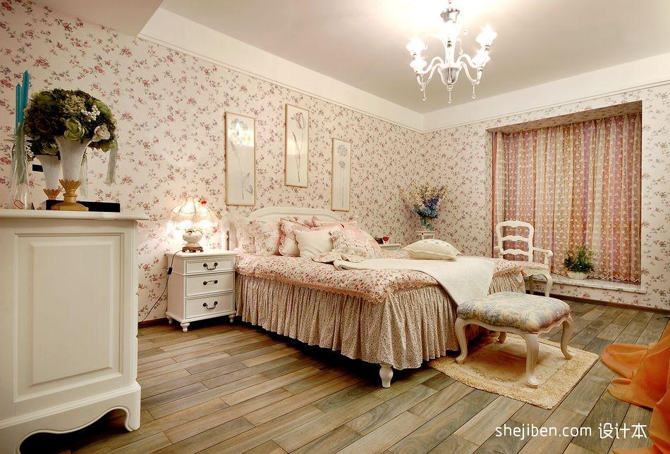 106平米三居卧室田园效果图卧室美式田园卧室设计图片赏析