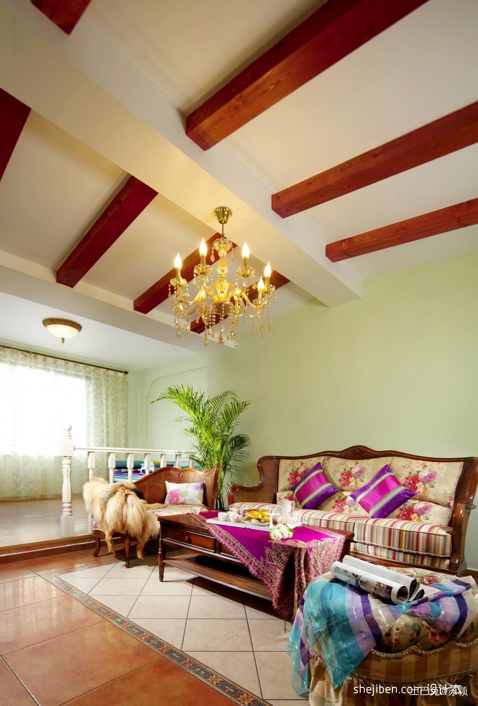 混搭客厅实木木条吊顶装修效果图设计图片赏析