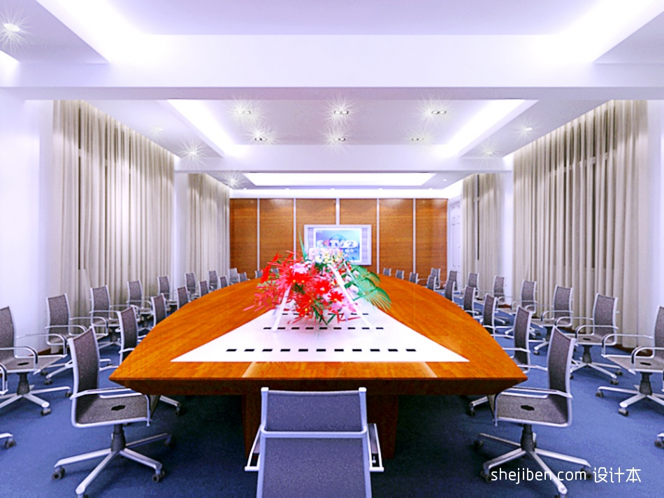 中石化视频会议室效果表现01办公空间设计图片赏析