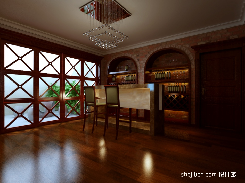 新古典别墅酒柜吧台装修效果图设计图片赏析