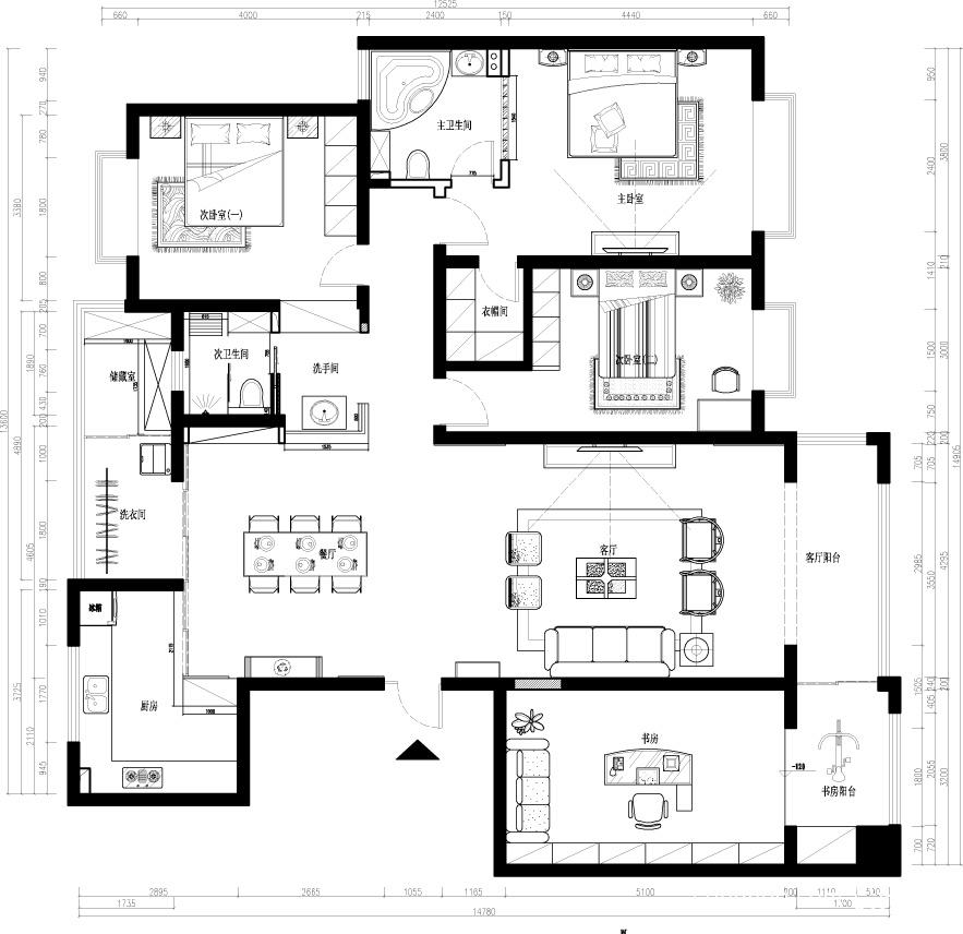2018精选面积97平中式三居休闲区装修图片大全功能区中式现代功能区设计图片赏析