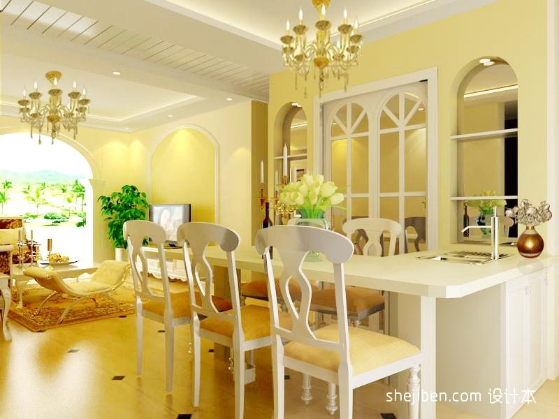 优雅60平混搭二居餐厅装潢图厨房潮流混搭餐厅设计图片赏析