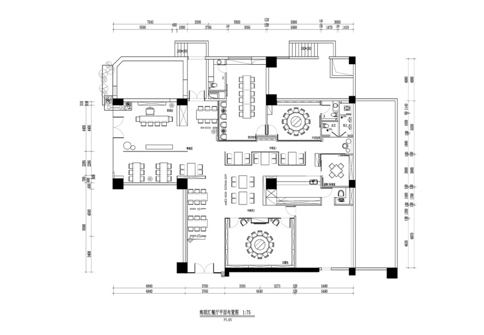 海联汇写意时尚新东方平面布置图餐饮空间其他设计图片赏析