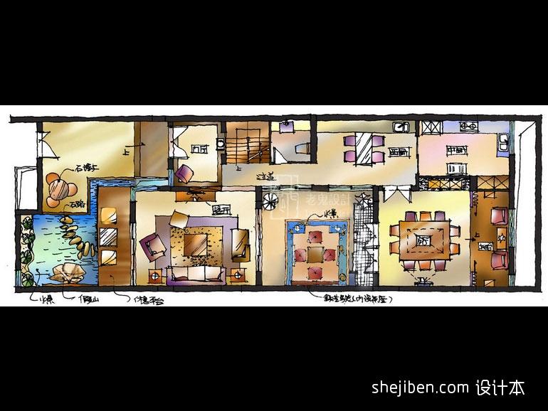 质朴738平混搭别墅客厅装潢图客厅潮流混搭客厅设计图片赏析