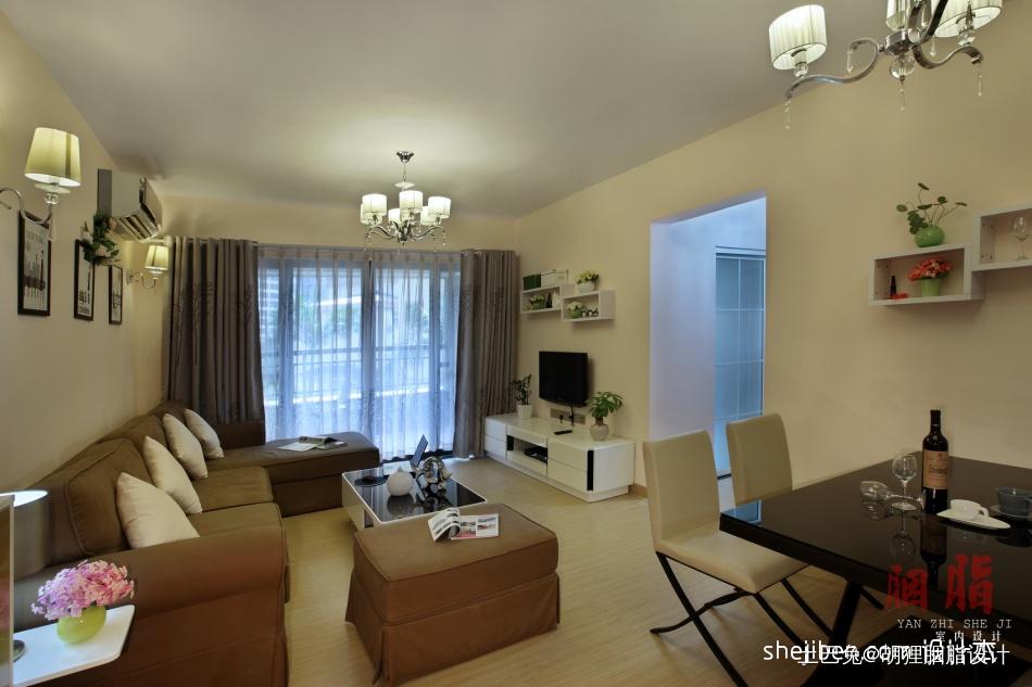 广州胭脂设计现代简约风格客厅落地窗帘装修效果图客厅潮流混搭客厅设计图片赏析
