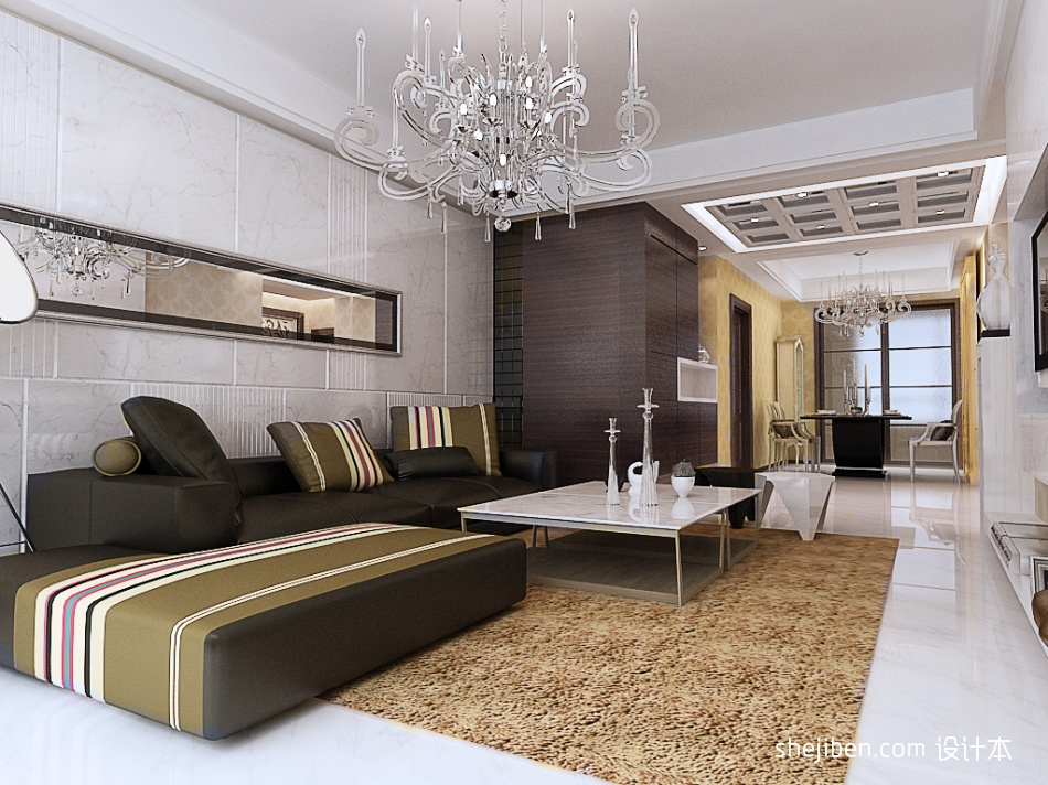 平米二居客厅混搭装修欣赏图片大全设计图片赏析