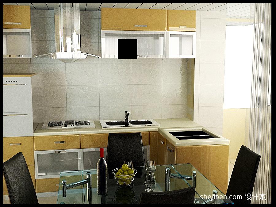轻奢71平混搭二居餐厅效果图厨房潮流混搭餐厅设计图片赏析