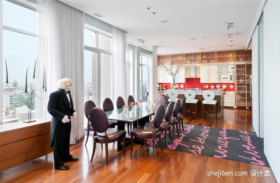热门现代复式餐厅装修设计效果图片厨房现代简约餐厅设计图片赏析