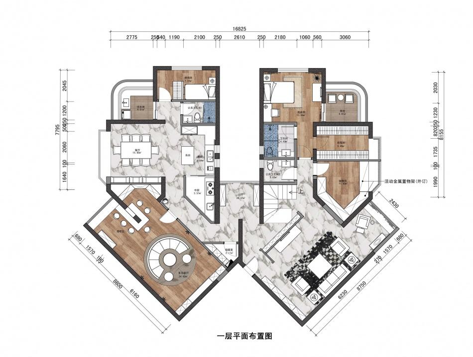 2018面积140平复式客厅混搭装修设计效果图片欣赏客厅潮流混搭客厅设计图片赏析