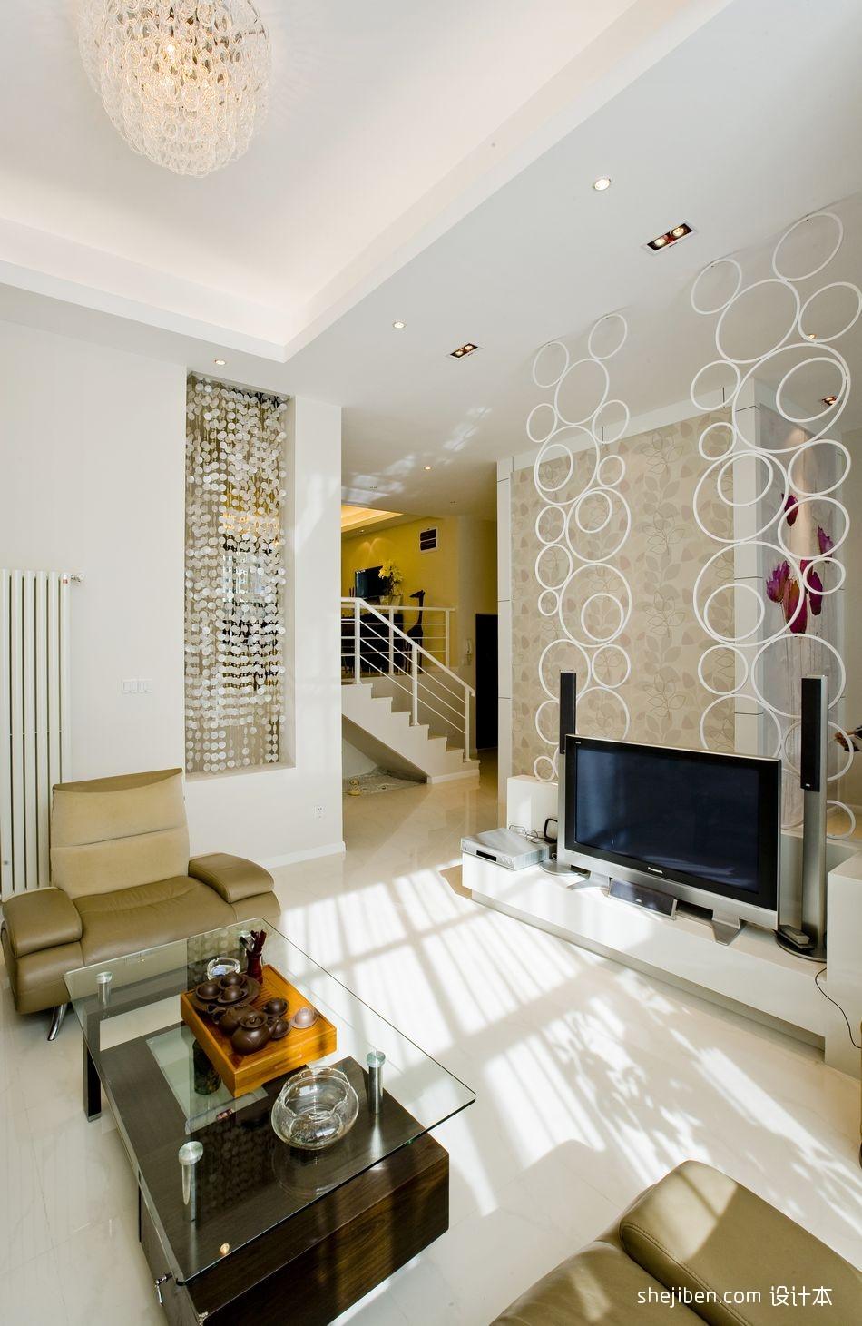 加州印象简约复式楼设计现代客厅镂空电视隔断装修效果图功能区其他功能区设计图片赏析